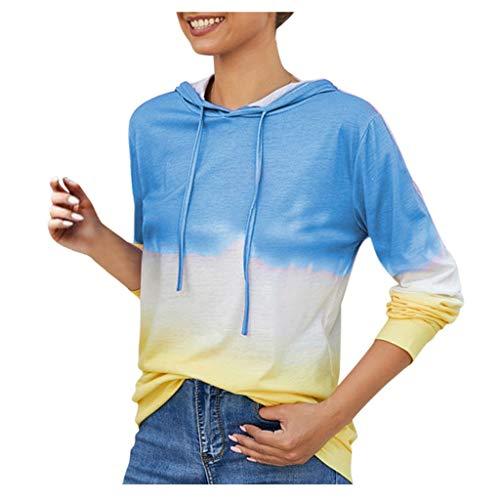 GOKOMO Langärmliges T-Shirt mit Farbverlauf für Frauen Beiläufiges Kontrast Farben mit Kapuze langes Hülsen Oberseiten Pullover Sweatshirt der Frauen(Blau,X-Large)