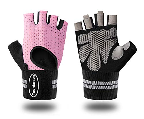 Weight Lifting Gloves, Gym Workout Gloves Support for Powerlifting, Cross Training, Fitness, Bodybuilding, Best for Men & Women (Pink-Long Wristband, Medium)