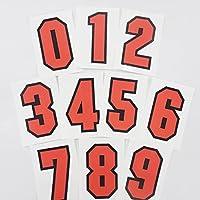 マニアックコレクション(maniac collection)ゼッケンステッカー 10cm スポーツナンバー 数字1文字分 レース バイク ナンバー 番号 オフ車 オフロード スポーツバッグ (オレンジ)