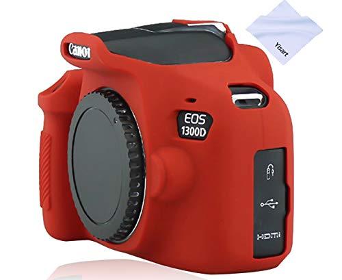 Yisau Canon EOS Rebel T6 T7 Camera Housing Case, Silicion Rubber Camera Case Cover Detachable Protective for Canon EOS 1300D Rebel T6/ EOS 1500D Rebel T7 KISS X90 Camera (Red)