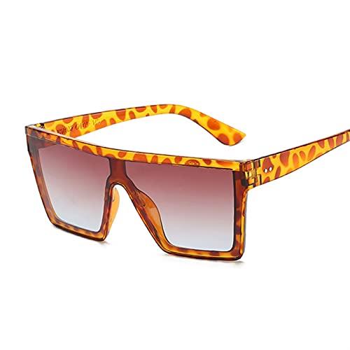 PPCLU Vintage Square Gafas de Sol Mujeres de Lujo Degradado de Gran tamaño Gafas de Sol Sombras Mujeres Diseñador de Moda (Lenses Color : Leopard)