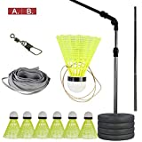 HAOT Elastic Children Adult Badminton Trainer Single Play Rebound Practice Swing Automatic Sparring Badminton Set Self-Study Rebound Power Base for Badminton Learners