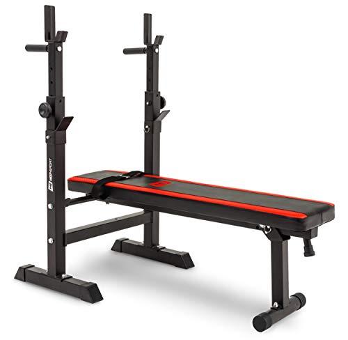 Hop-Sport 1080 - Banco de musculación plegable con soporte para pesas
