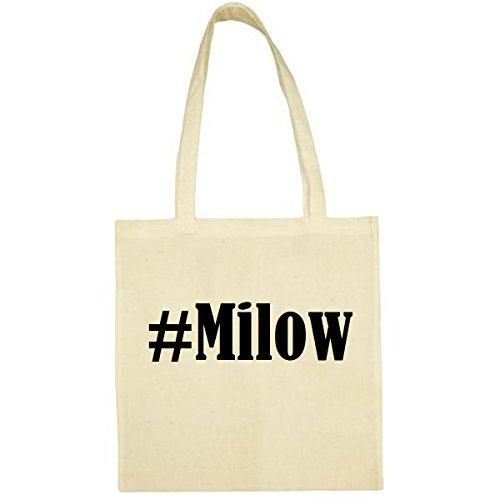Tasche #Milow Größe 38x42 Farbe Natur Druck Schwarz