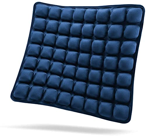 SUNFICON Inflatable Seat Cushion Air Seat Cushion Portable Car Seat Office Chair Wheelchair Pad Anti Bedsore Orthopedics Pain Pressure Relief Cushion Camping Seat Mat w Pump 18   x 16   x1   Blue