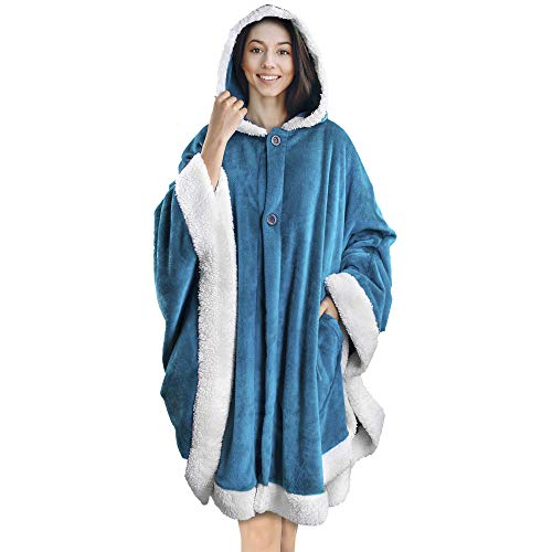 PAVILIA Angel Wrap Hooded Blanket   Poncho Blanket Wrap with Soft Sherpa Fleece   Plush, Warm, Wearable Throw Cape with Pockets for Women Gift (Sea Blue)