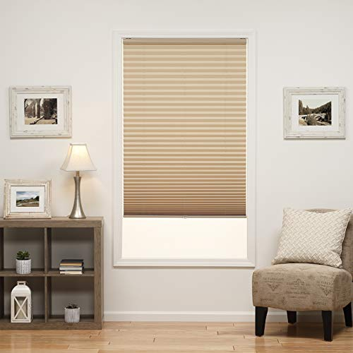 DEZ Furnishings QDCM230720 Cordless Light Filter Pleated Shade, Camel, 23W x 72L