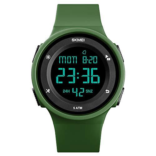 TONSHEN Simple Fashion Relojes Deportivo Mujer Outdoor Militar Impermeable 50M Resistente al Agua LED Electrónica Doble Tiempo Alarma Reloj Digital Plastico Caja y Goma Correa (Verde)