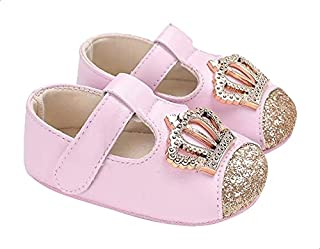 Mix & Max Faux Leather Crown-Detail Mary Jane Shoes for Girls - Pink, 12 - 18 Months