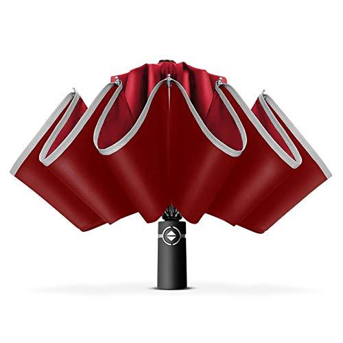 DORRISO Unisexo Automático Paraguas Plegable Inverso Mujer Hombres Plegable Paraguas Portátil Viajar Paraguas Antiviento Impermeable Paraguas Rojo