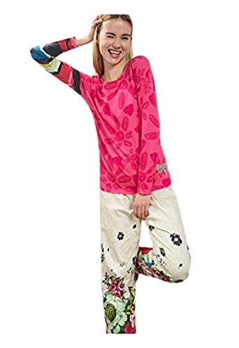 Desigual TS LS Lovely Pink Camiseta, Anis Flower, S/M para Mujer