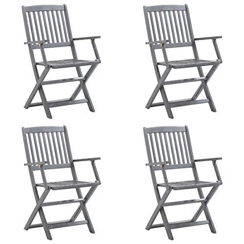 Tidyard 4X Gartenstuhl Klappbar mit Anthrazit Sitzkissen Armlehnen Holzstuhl Essstuhl Klappstuhl Stuhl Stühle Gartenstühle Holzstühle Akazienholz Massiv