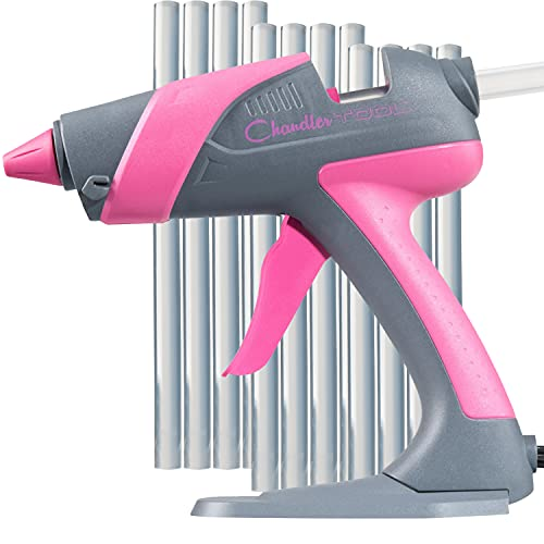 """Hot Glue Gun by Chandler Tool - 60 Watt Full Size Heavy Duty High Temp Industrial Hot Melt Glue Gun Kit With 12 Pcs Glue Sticks & Patented """"Stand-Up"""" Base Stand, for Arts & Crafts, DIY & More (Pink)"""