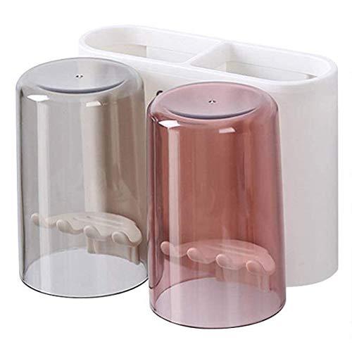 Soporte para Cepillo de Dientes montado en la Pared Soporte para Pasta de Dientes Soporte para maquinilla de Afeitar de baño Peine Organizador de cosméticos (15,4x12x14 cm / 2 Tazas)