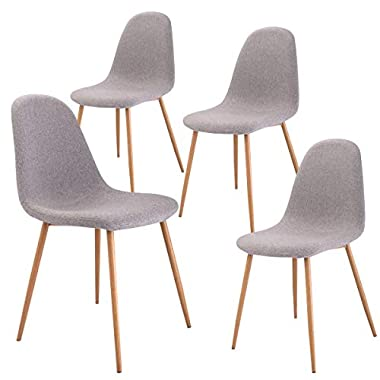 Giantex Dining Side Chairs Set of 4 Sturdy Metal Legs Wood Look Fabric Cushion Seat Back Home Dining Room Furniture Chairs Set, Gray