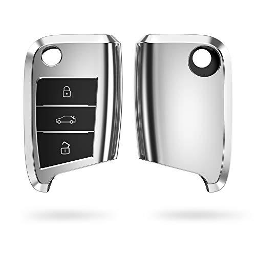 kwmobile Autoschlüssel Hülle kompatibel mit VW Golf 7 MK7 3-Tasten Autoschlüssel - TPU Schutzhülle Schlüsselhülle Cover in Hochglanz Silber