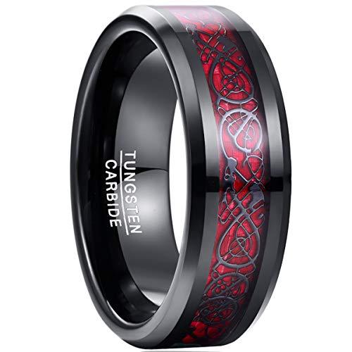 NUNCAD Unisex Ring Paare Wolfram mit Keltischen Drachen + Kohlefasern Blassrot für Hochzeit Valentinstag Trauung Party Größe 61(21)