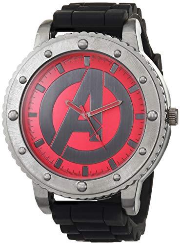 Marvel Men's Alloy Steel Quartz Watch with Silicone Strap, Black, 16 (Model: AVG1512AZ)