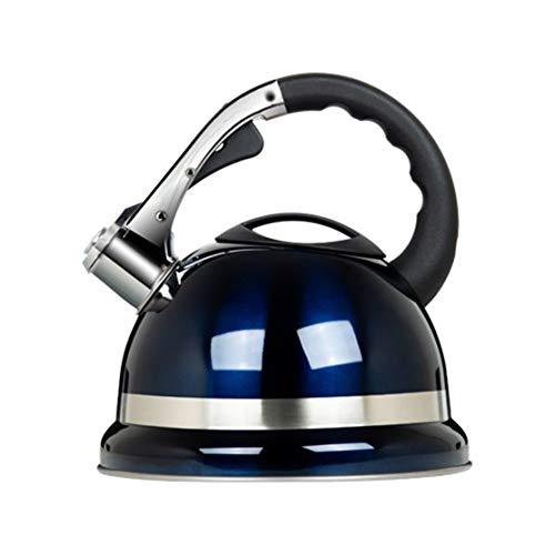 Kessel Stovetop Whistling Kettle 3,5 Liter Fassungsvermögen Edelstahl, hochwertiges Blau Siedewasser-Topf for Gaskocher, DREI-Schicht-Verbund Bottom for eine effiziente Wärme Sammlung