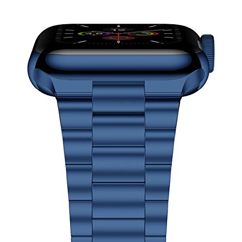 iiteeology Compatible with Apple Watch Band Series 5/4 Series 3/2/1, Upgraded Version Stainless Steel Link iWatch Band for Women Men (Blue-3 Rows, 42mm/44mm)