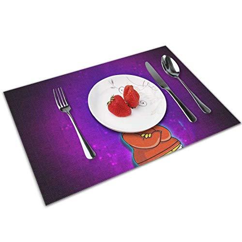 baowen Simpsons - Juego de 4 manteles Individuales para Mesa de Comedor con Aislamiento Lavable, Resistentes al Calor, para Mesa de Cocina, 12 x 18 Pulgadas