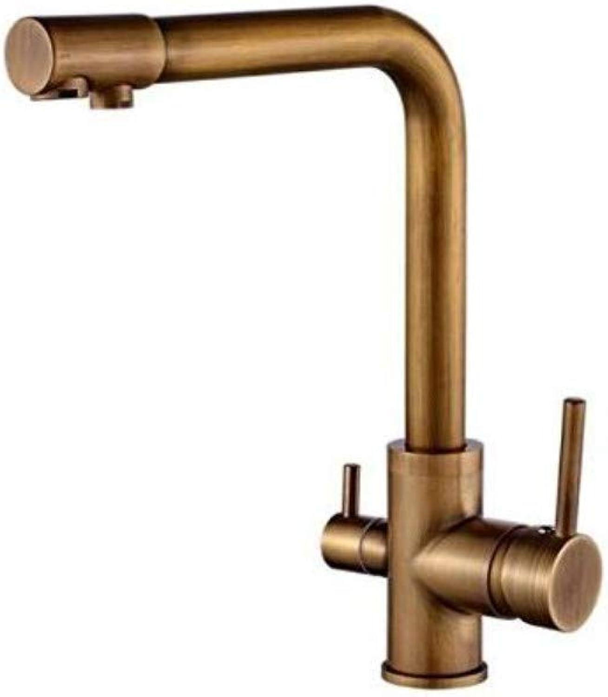 Küche Bad Wasserhahn100% Messing Antike Mixer Swivel Trinkwasser Wasserhahn 3 Way Wasserfilter Luftreiniger Küchenarmaturen Für Waschbecken Wasserhhne