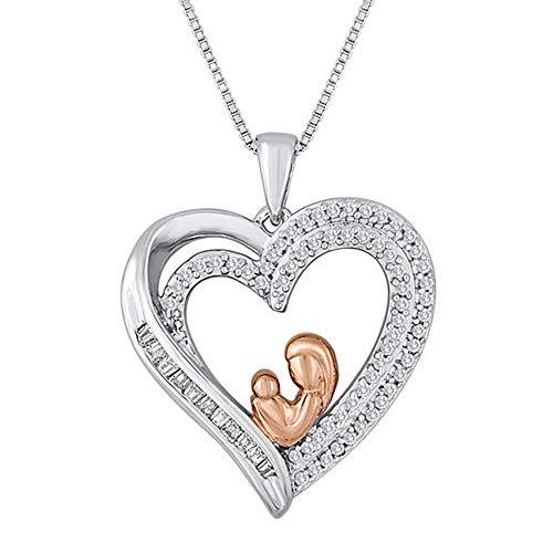 Ani's Colgante de corazón chapado en oro de 14 quilates con dos tonos para mamá y bebé con cadena de 45,72 cm, diamantes de circonita cúbica de 1/4 quilates