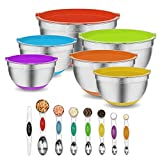 Stainless Steel Mixing Bowls with Lids Set of 6, Size 7/5/3,5/2.5/2/1,5 QT, 20 PCS Mixing Bowl Set and Magnetic Measuring Spoons, Colorful Non-Slip Bottoms metal mixing bowls with Airtight Lids