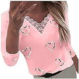 Damen Pullover Langarm T-Shirt V-Ausschnitt Herzen Drucken Bluse Tunika Tops Frauen Casual Spitze Patchwork Tuniken Sexy Oberteile Sommer Freizeit Slim Fit