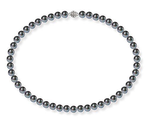 Schmuckwilli Damen Muschelkernperlen Perlenkette Schwarz mit Violett Glanz Magnetverschluß echte Muschel 50cm dmk0014-50 (8mm)