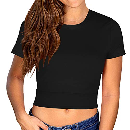 DOLAA Camiseta Corta de Manga Corta con Lazo en la Espalda para Mujer Camiseta Corta con Cuello Redondo Liso Camiseta Corta de Moda con Cuello Redondo Camiseta Deportiva de Verano Tallas Superiores