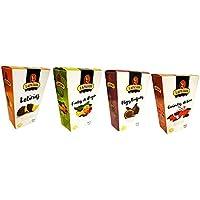 Lote 4 Productos Gourmet LAPASION. Frutas de Aragón, Guindas, Higos trufados, Gajos de naranja confitada bañados en cobertura de chocolate.