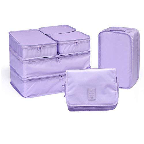 JJ POWER Travel Packing Cubes 7 Set Luggage Organizers with toiletry kit shoe bag Lavender