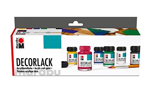 Marabu 1130000000087 - Decorlack Acryl Starter Set, hochglänzender Acryllack auf Wasserbasis, wetterfest, speichelecht, zum Malen, Schablonieren und für Serviettentechnik, 6 x 15 ml Farbe und Pinsel