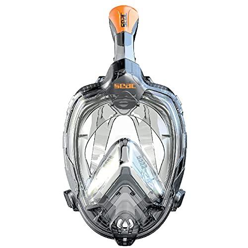 SEAC Libera, nova geração de máscara de snorkel integrada, silicone hipoalergênico, liberação rápida, 3 tamanhos, preto/laranja, P-M (170006001523A)