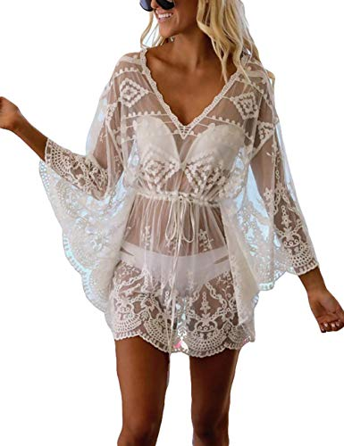 Bsubseach White See Through Casual V Neck Beach Mesh Batwing Sleeve Swimsuit Cover Up Swimwear for Women