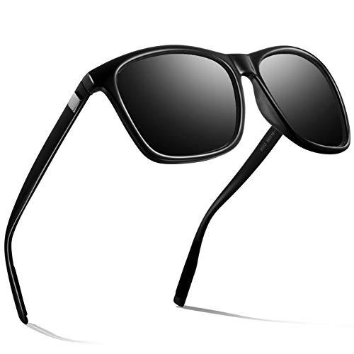 wearPro Gafas de sol polarizadas de estilo aviador para hombre, polarizadas, gafas de sol de aviador para hombre, con espejo P-negro. Talla única