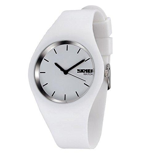 Silikon für Uhren Gosear Wasserdicht Männer Frauen Lässige Sport Silikon Quarz Handgelenk Uhr Armbanduhr Schwarz Weiß