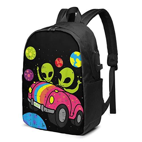 Hdadwy Hippie Alien Space Roadtrip Car USB Backpack 17 Inch Shoulder Bag Laptop Bag Fashion Rucksack