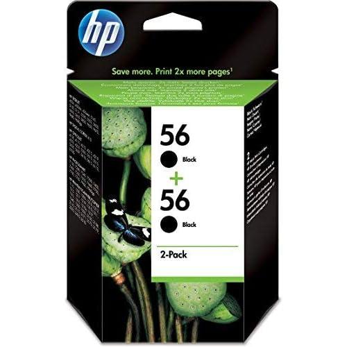 HP C9502AE Combopack da 2 Cartucce 56 Originali per Stampanti a Getto d'Inchiostro, Compatibile con Deskjet 5550, Photosmart 7350, 7150, 7345, Officejet 6110, 5110, Nero