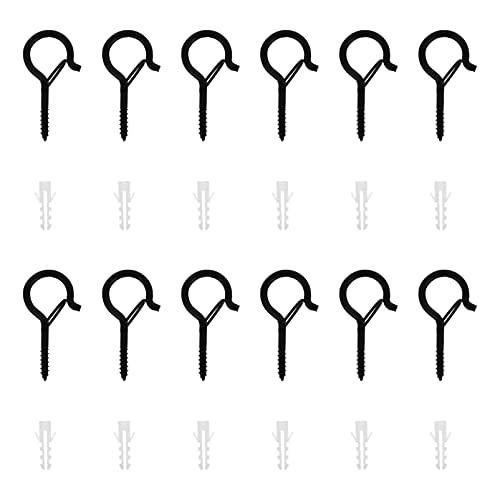 Angoily 20 Juegos de Ganchos de Tornillo Q- Hanger Negros Ganchos de Luz de Cuerda para Exteriores para Alambre Y Luz Navideña de Hadas Plantas Tornillo de Fácil Liberación con Diseño de