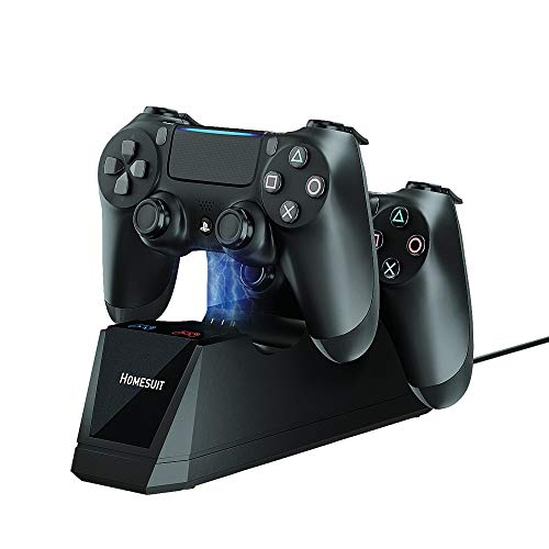 Controller Charger for PS4,Homesuit Dual Shock USB Charger Charging Docking Station Stand for Sony Playstation 4 PS4/PS4 Slim/PS4 Pro Controller,Black