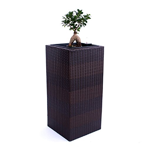 Blumenkübel Pflanzkübel Blumentopf Übertopf Polyrattan Säule LxBxH 40x40x84cm Coffee-braun