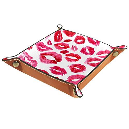 ASDQWE Porte-clé en cuir pour femme Motif lèvres blanches rouges, Lèvres blanches et rouges., 20.5x20.5cm