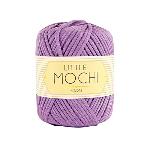 Little Mochi Elastic Plum Yarn with Cotton Crochet Knitting Yarns Needle Craft, Purple