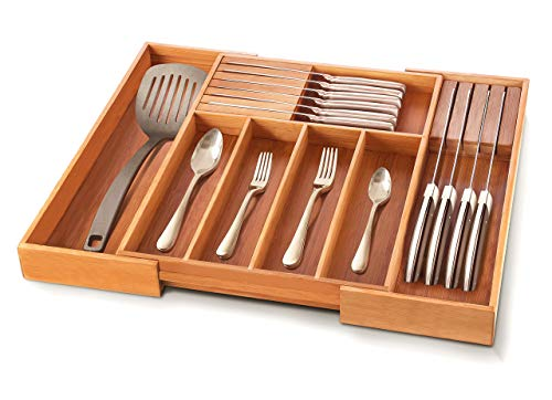 Bamboo Silverware Kitchen Drawer Organizer - Expandable Cutlery Tray with 2 Removable Knife Blocks - Kitchen Drawer Divider for Flatware and Utensils