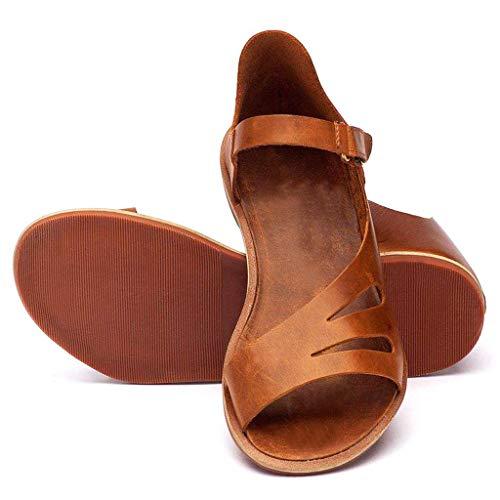 Sandalias Mujer Verano Zapatos Romanos Color Liso Recorte Sandalias Mujeres Moda Costura Peep Toe Hasp Sandalias Zapatos Flatform Viaje Playa Zapatillas Marrón Negro 35-43 riou