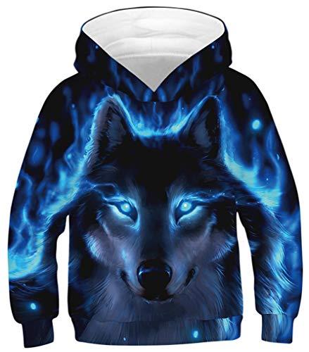 Ocean Plus Jungen Kapuzenpullover Bunt Teens Hoodie Kinder Langarm Pulli mit Kapuzen Sweatshirt Pullover (XS (Körpergröße: 115-120cm), Blauäugiger Schwarzer Wolf)