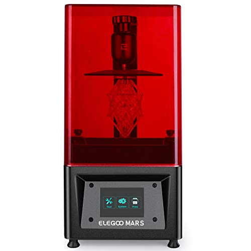 ELEGOO MARS UV Photocuring LCD 3D Printer with 3.5' Smart Touch Color Screen Off-line Print 4.53'(L) x 2.56'(W) x 5.9'(H) Printing Size-Black
