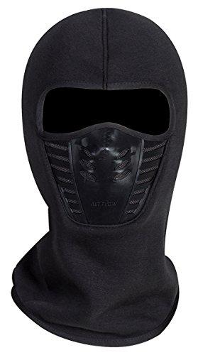 Winddichte Vollgesichtsmaske aus Fleece,Einheitsgröße,Unisex,Winterliche Outdooraktivitäten - Schwarz